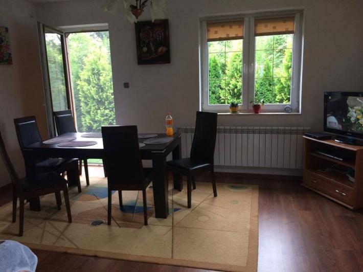 Salon z kanapą dwu osobową,stół,sześć krzeseł,komoda i tv.