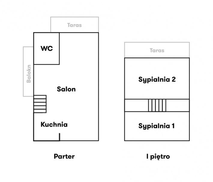 Powyżej przedstawiamy plan pomieszczeń w naszym domku: Parter: - salon z kominkiem,rozkładana kanapa do spania,wyjście na taras z widokiem na ogród. - Łazienka (prysznic, wc) - Kuchnia z pełnym wyposażeniem i aneksem jadalnym oraz widokiem na jezioro ( sztućce, tależe, szklaniki i wszystko co niezbędne do życia )  Piętro: - dwie sypialnie: pierwsza z wyjściem na taras z widokiem naogród, druga z widokiem na Jezioro Wulpińskie. Między sypialniami duża szafa ubraniowa.